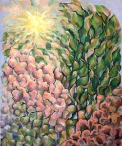 "Genesis, Acrylic on Canvas, 47"" x 35.4""   120 x 190 cm"