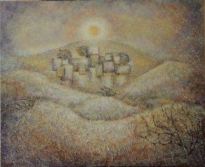 Shimal , 2011, acrylic, oil and desert sand on canvas, 90 x 110 cm